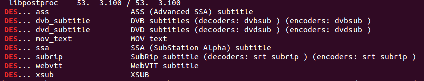 Available subtitle codecs as reported by ffmpeg